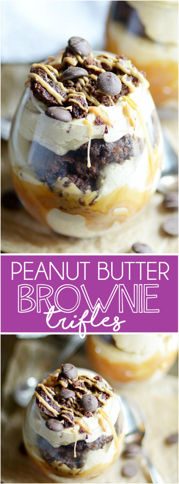 Fudgy chocolate brownie bites layered in cool, creamy peanut butter mousse. You won't believe how good this is and how easy it is to make!!