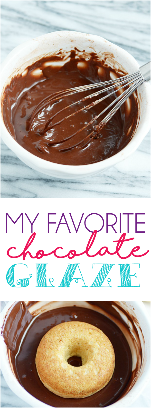 This EASY chocolate glaze is perfect for donuts, cookies, cakes, cupcakes, and more!