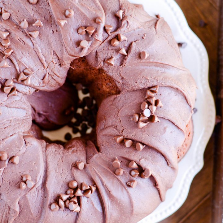 This old fashioned chocolate cake was one of the first from-scratch cakes I ever made. It's super moist and has a rich chocolate flavor. Top it with chocolate ganache or this yummy 1-minute frosting!