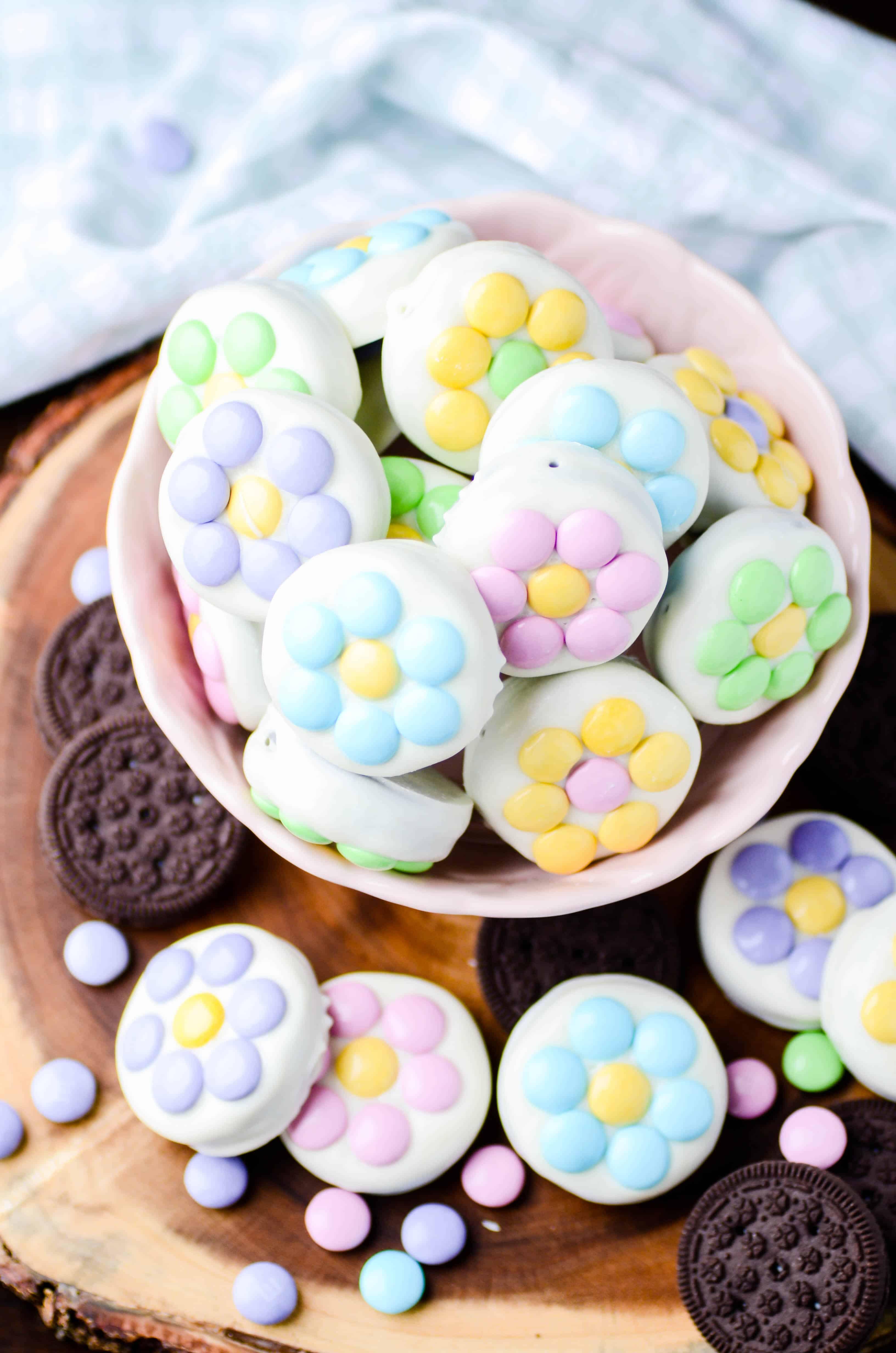 White Chocolate Covered Oreos Spring Flowers