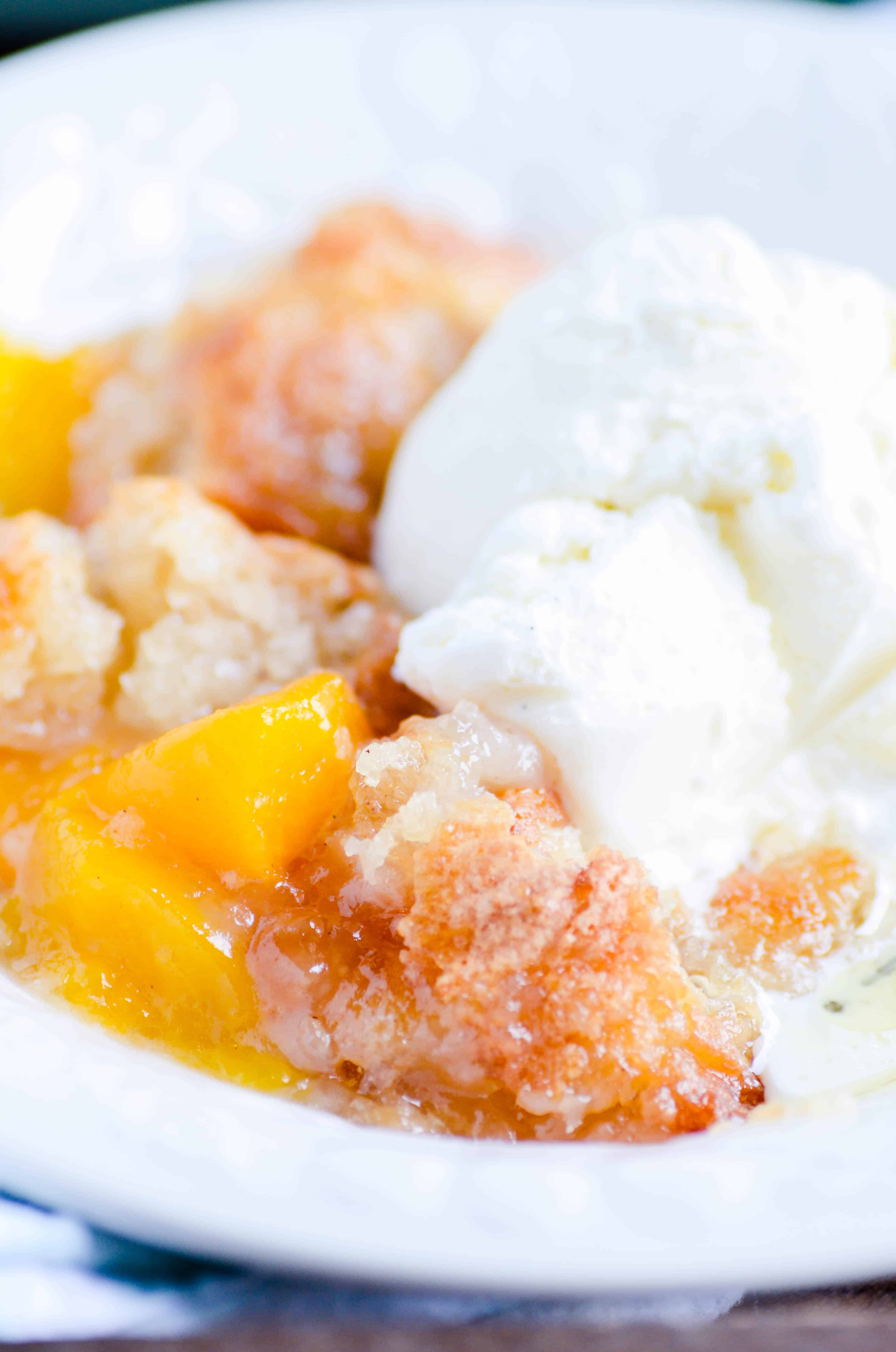 Quick and easy peach cobbler. The perfect recipe to stretch out those summer days a little bit longer!