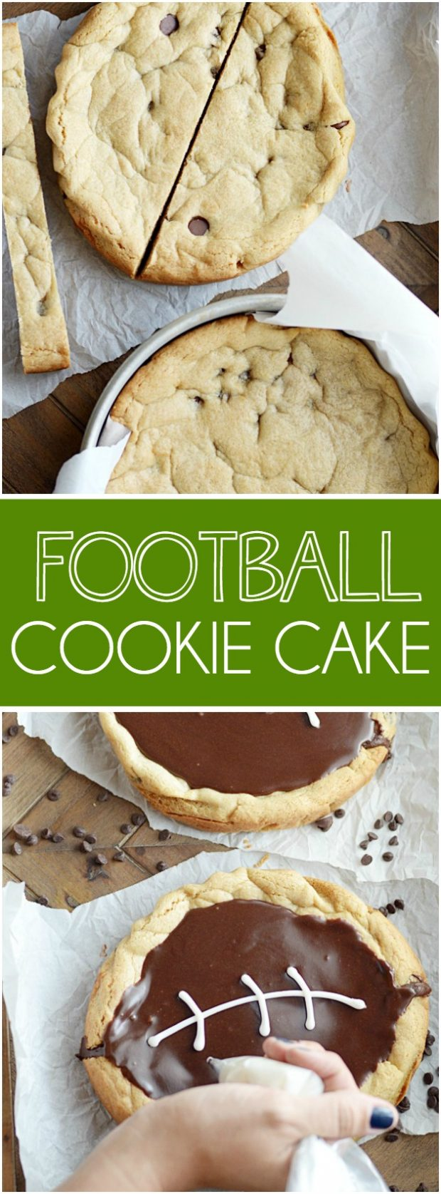 Be the hero of your tailgating parties this weekend! Bake my Quick & Easy Chocolate Chip Cookie recipe into 2 round cake pans, make a quick cut in the middle plus frosting, and voila! A football cookie cake in no time.