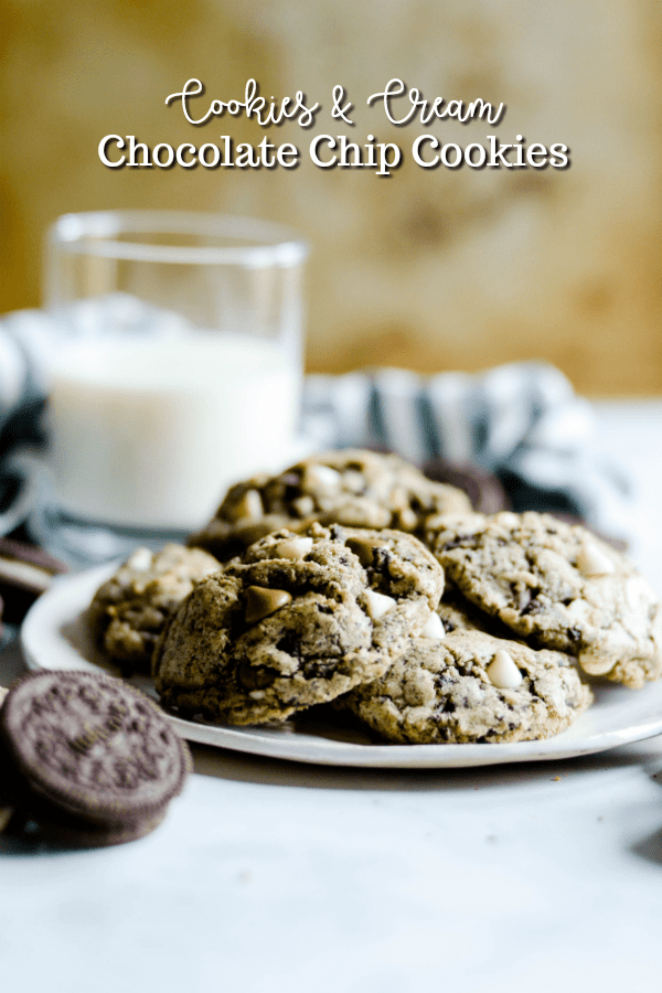 Chocolate sandwich cookies and classic chocolate chip cookies collide in these Cookies & Cream Cookies!