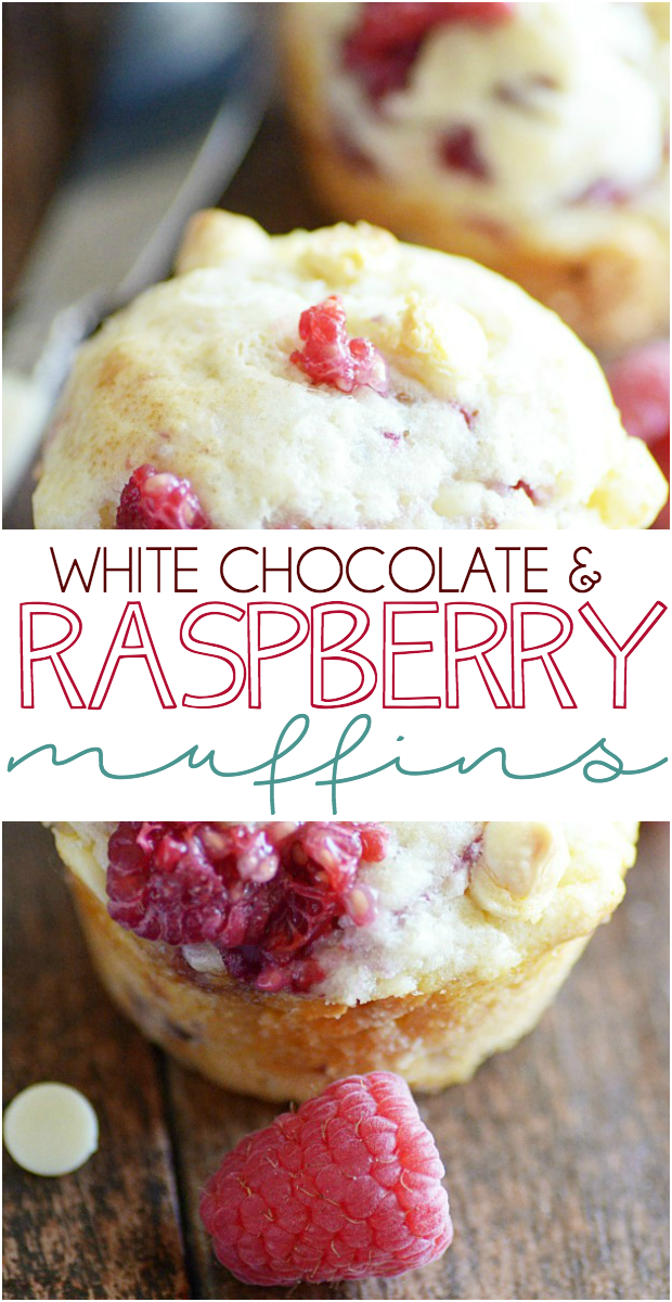 Super soft and fluffy muffin recipe filled with juicy raspberries and creamy delicious white chocolate.