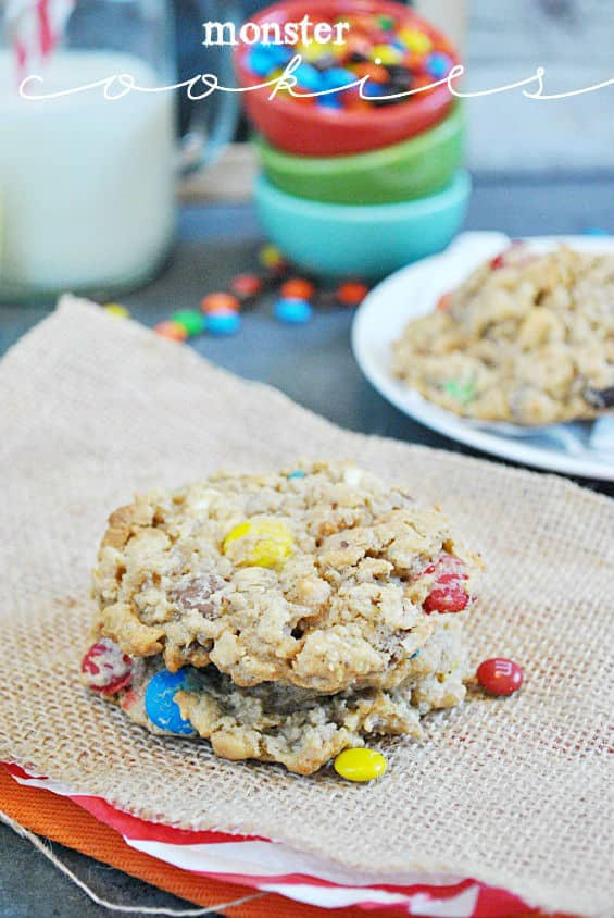 Monster Cookies Recipe (peanut butter, oatmeal, chocolate chips, M&Ms) | www.somethingswanky.com