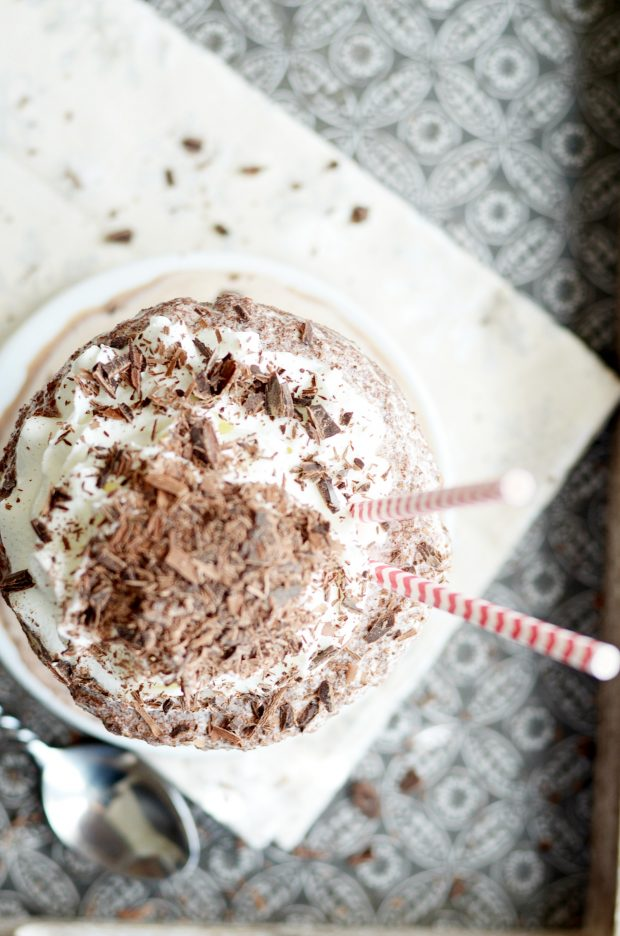 Deep, dark, chocolate-y frozen hot chocolate served up in a gigantic bowl with a pile of whipped cream and chocolate shavings on top. Just like the famous frozen hot chocolate at Serendipity in NYC!