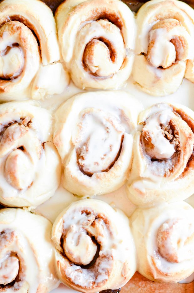 These cinnamon rolls are GINORMOUS and take less than one hour to make!! It doesn't get any better than this.
