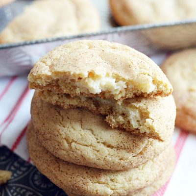 Soft and chewy snickerdoodles with a sweet cream cheese filling in the middle.