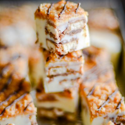 Creamy vanilla fudge with giant chunks of Samoas cookies with a caramel coconut topping and a drizzle of chocolate.