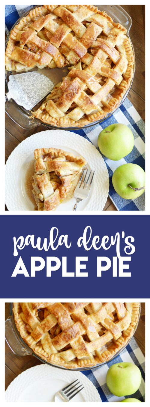 Paula Deen's classic Apple Pie with a buttery homemade lattice top crust and brown sugar apples.