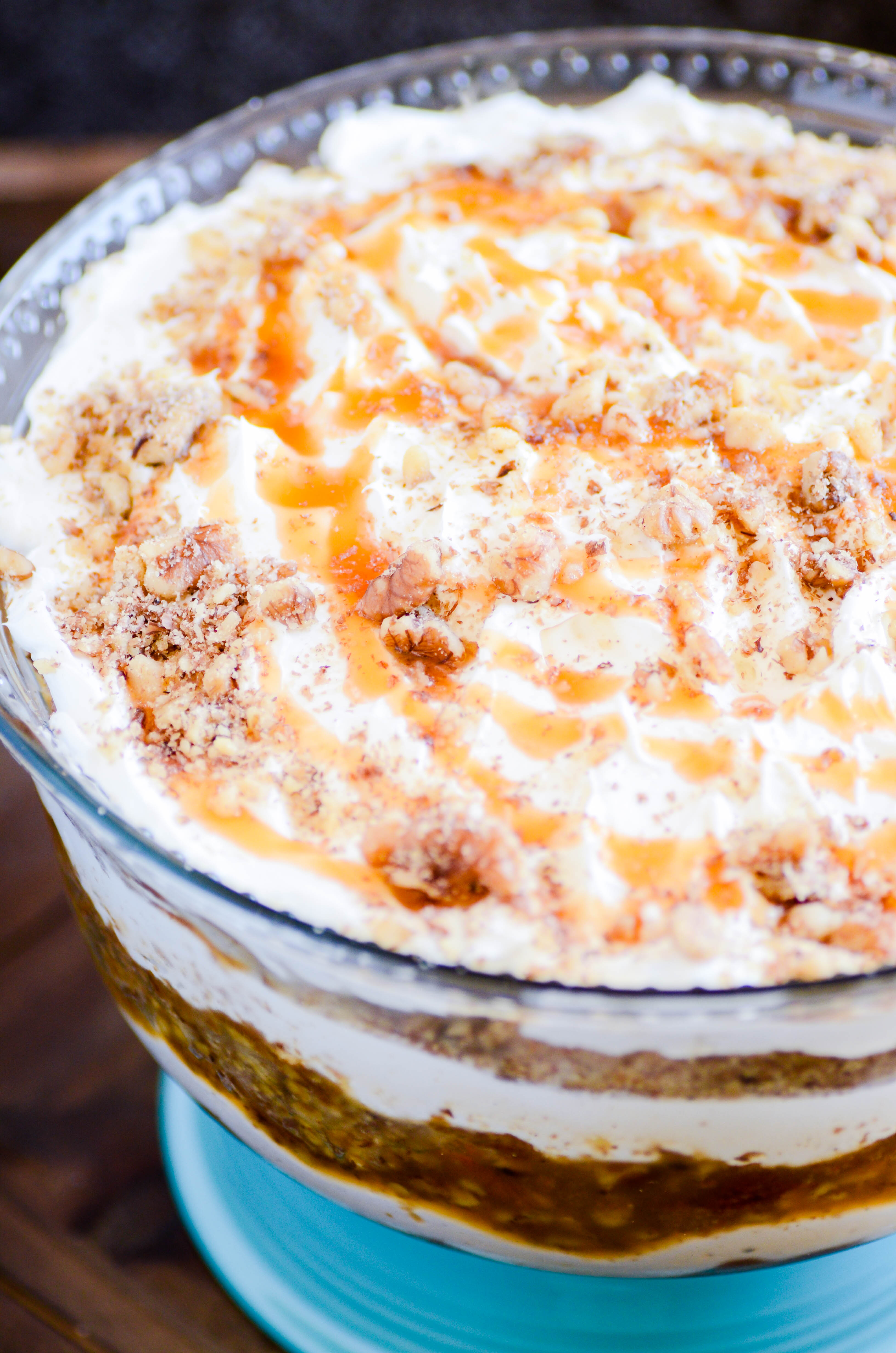 Layers of carrot cake, caramel sauce, and a cheesecake filling make this Carrot Cake Cheesecake Trifle unbeatable!