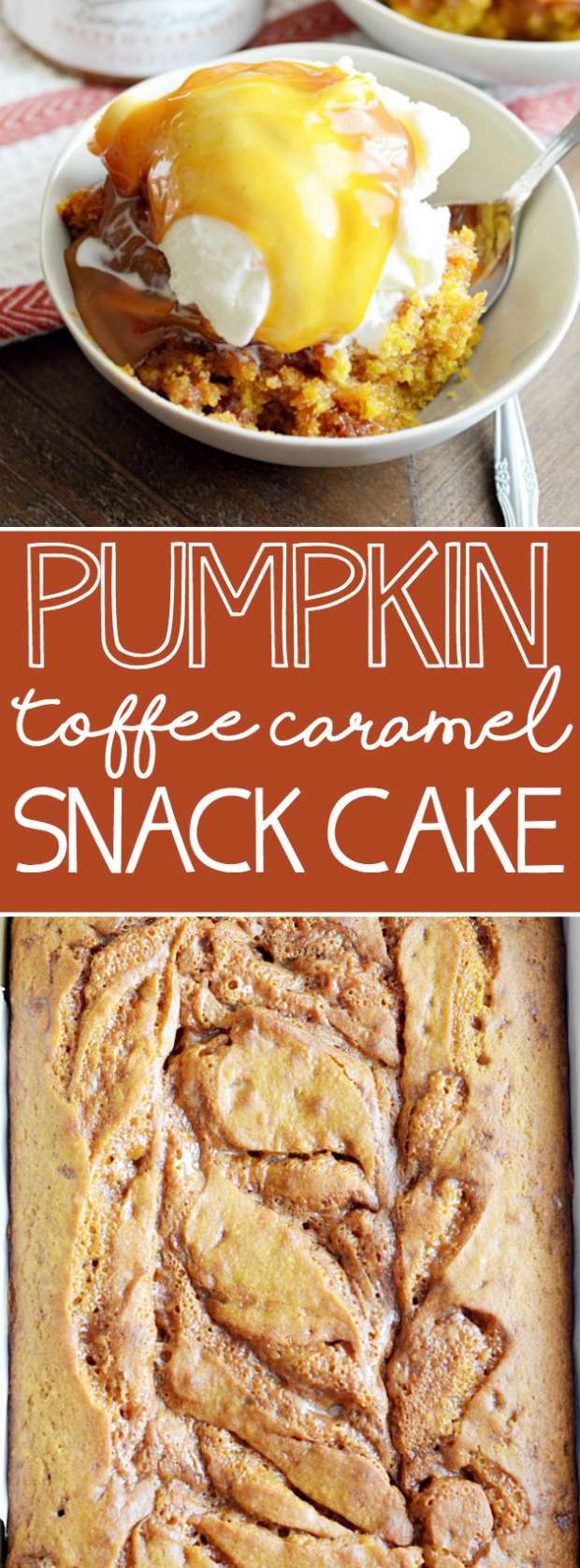 This might be my favorite pumpkin recipe of all time. Soft pumpkin cake with toffee bits and a ribbon of caramel all the way through.