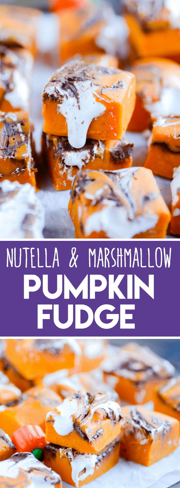 Pumpkin, Nutella, and marshmallow cream make this like no other pumpkin fudge you've had before!
