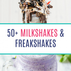 More than 50 epic recipes for Milkshakes & Freakshakes (over-the-top milkshakes) including a Lemon Meringue Freakshake, an Oreo & S'mores Everything Milkshake, and a Chocolate Mint Brownie Milkshake!