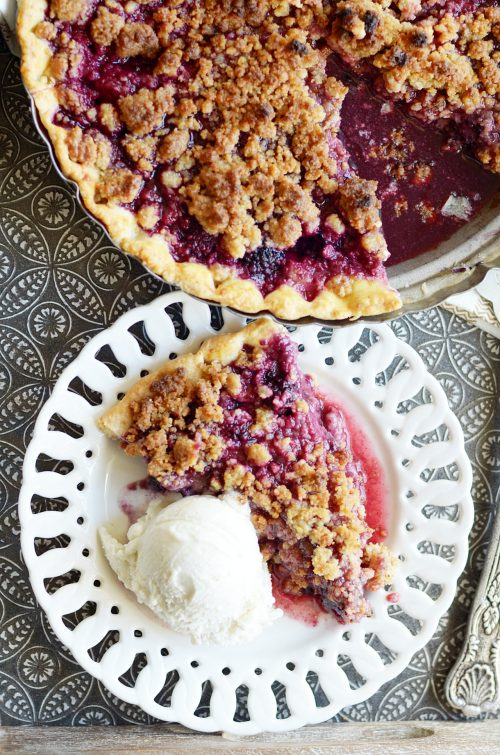 Seriously the best berry pie of all time. Toffee and blackberries are a match made in heaven! Plus the recipe for my favorite all butter pie crust and toffee crumble topping.