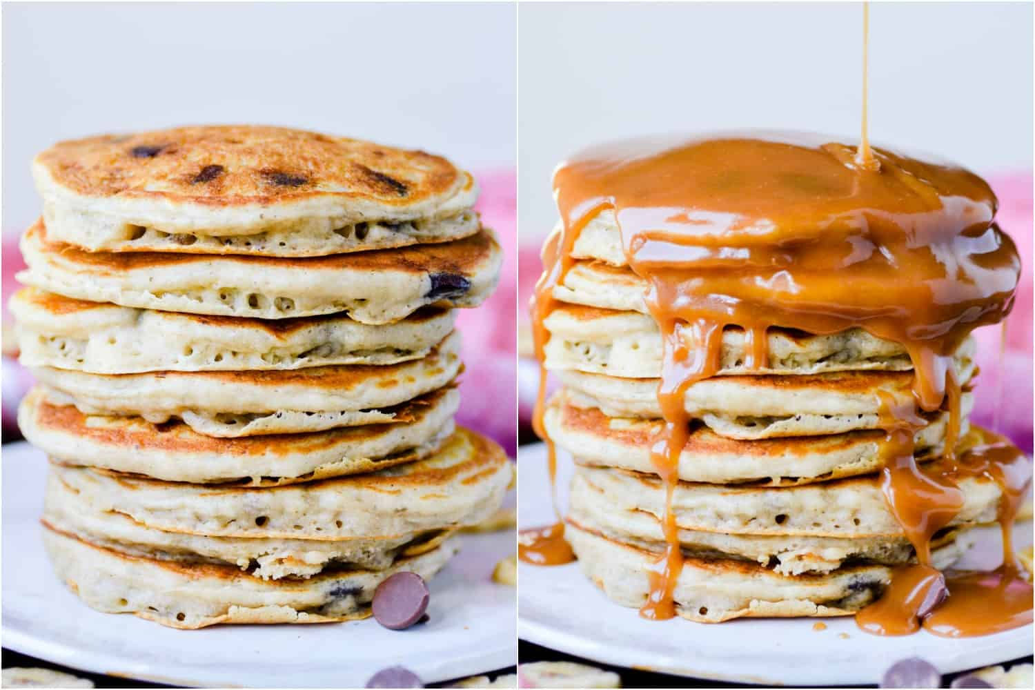 Banana chocolate chip pancakes served with peanut butter maple syrup. Breakfast of champions!