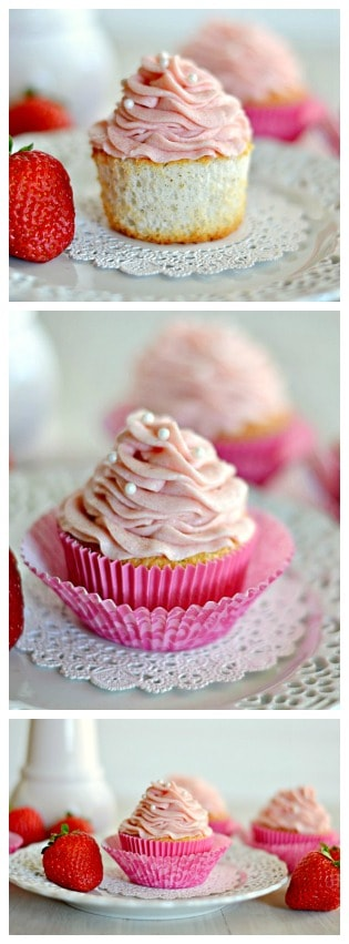 Angel Food Cake Cupcakes with Strawberry Frosting | www.somethingswanky.com #bca #thinkpink