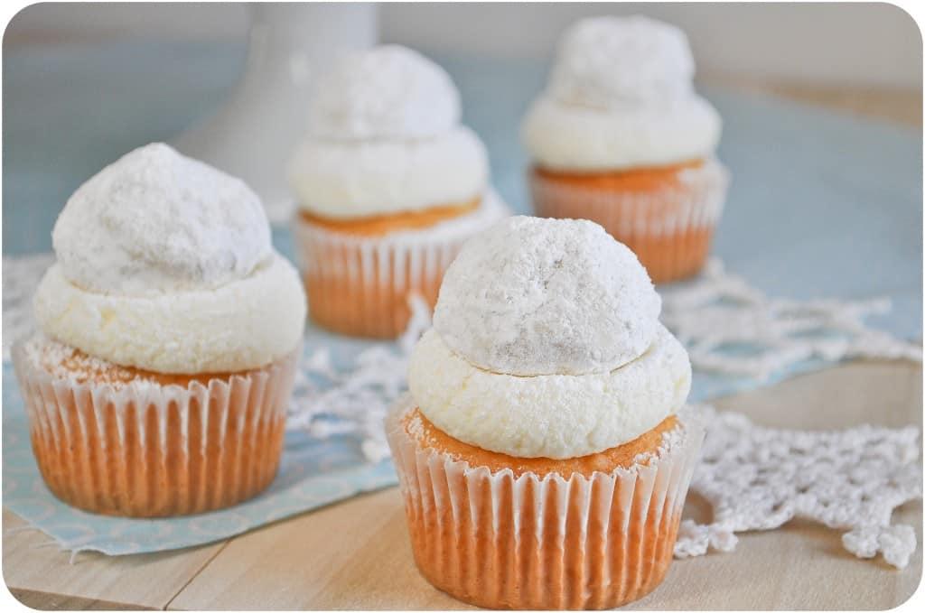 almond snowball cupcakes