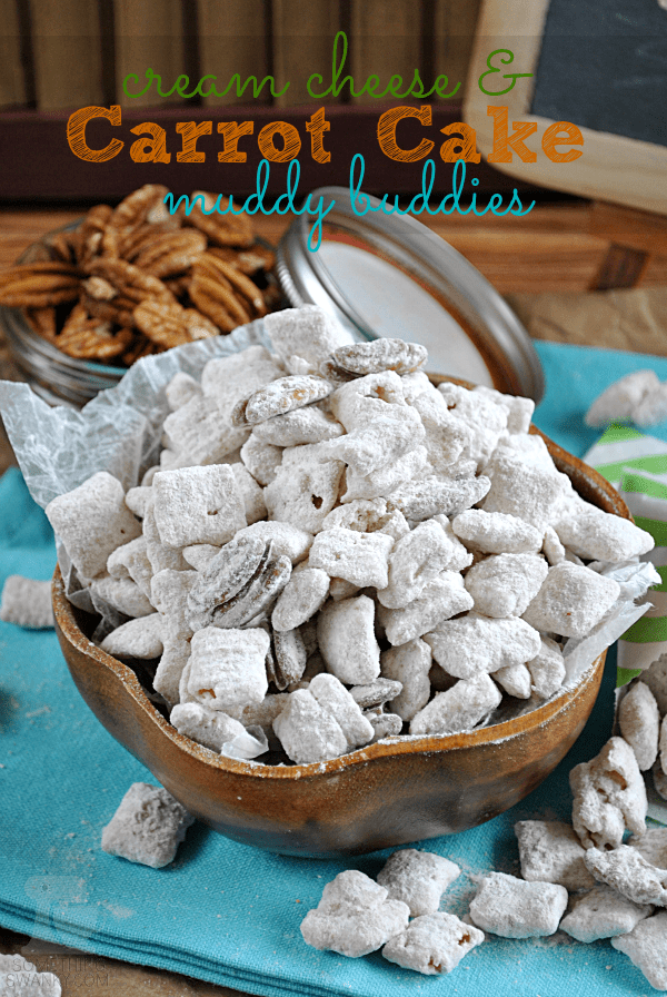 These Cream Cheese & #Carrot #Cake Muddy Buddies make the perfect spring time munchies! Plus, a major breakthrough in Muddy Buddy recipe development you won't want to miss! #muddybuddies at www.somethingswanky.com