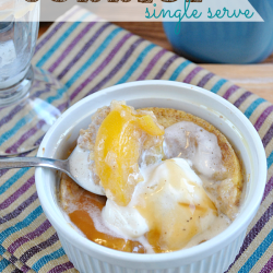 #Skinny Single Serve #Peach #Cobbler from www.somethingswanky.com | All the same great taste from the cobbler your mom used to make but slashing the sugar and fat! Recipe is completely sugar free with the exception of the natural sugar found in the peaches!