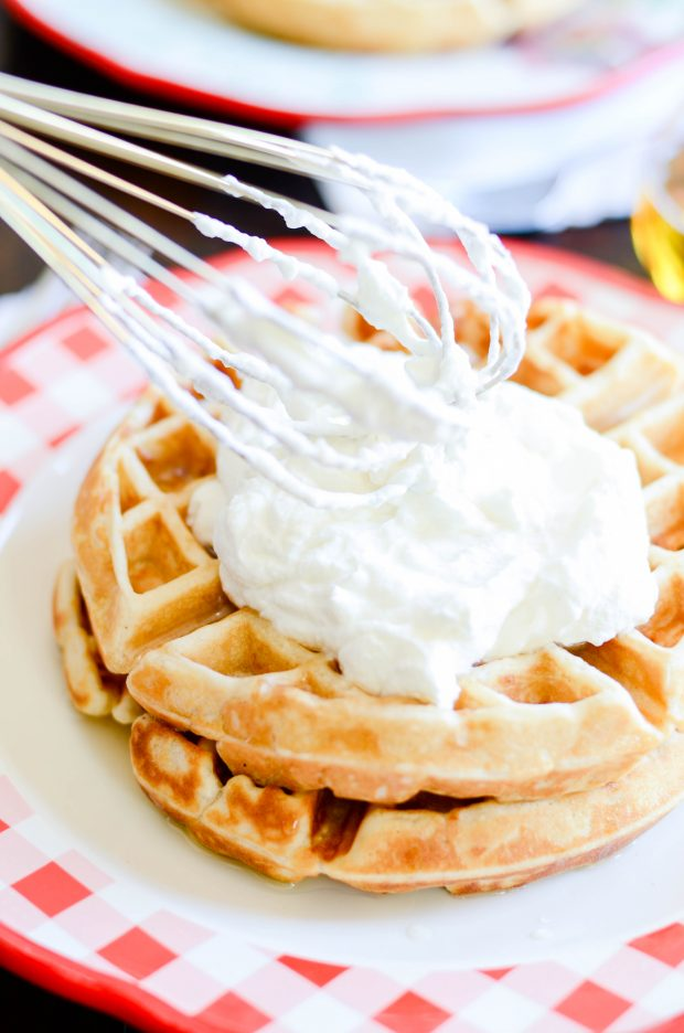 These are our family's very favorite homemade belgian waffles. Crispy on the outside, soft and steamy on the inside.