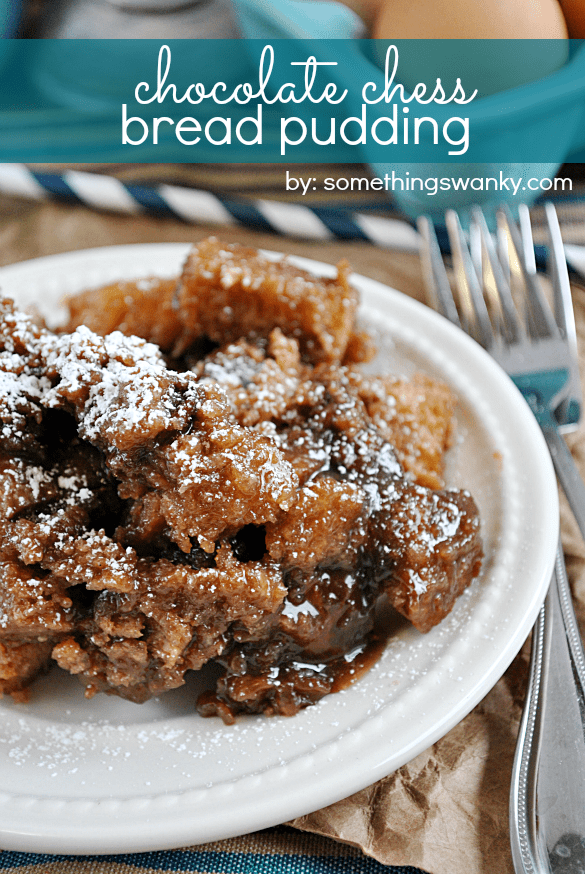 This #Chocolate Chess #Bread Pudding will knock your socks off. It's decadent like a #pie, but comfort food in only the way that bread pudding can be... on www.somethingswanky.com