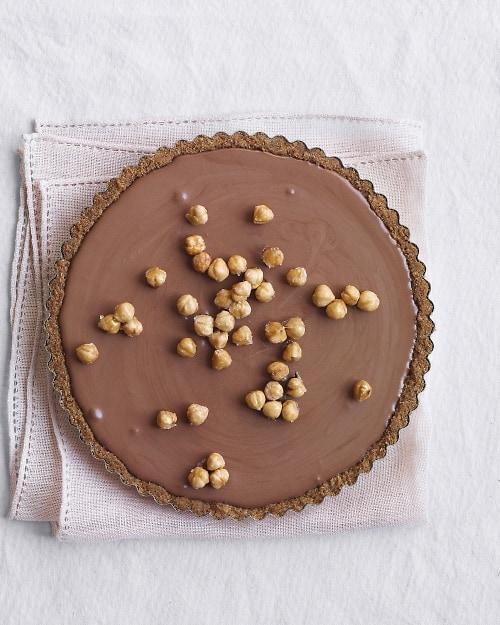 chocolate mousse tart with hazelnuts