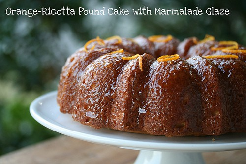 orange ricotta pound cake with marmalade glaze