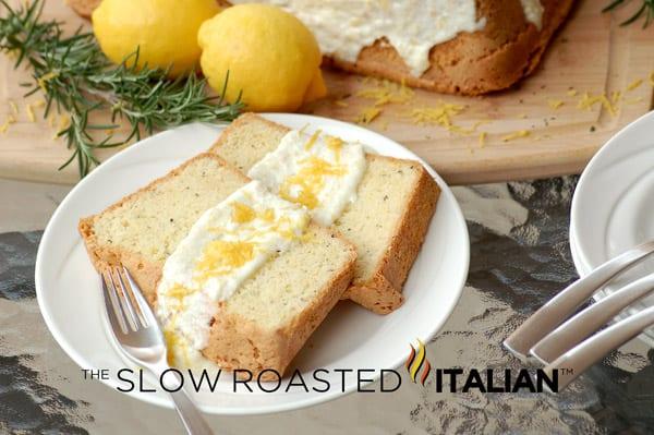 rosemary lemon pound cake with lemon icing