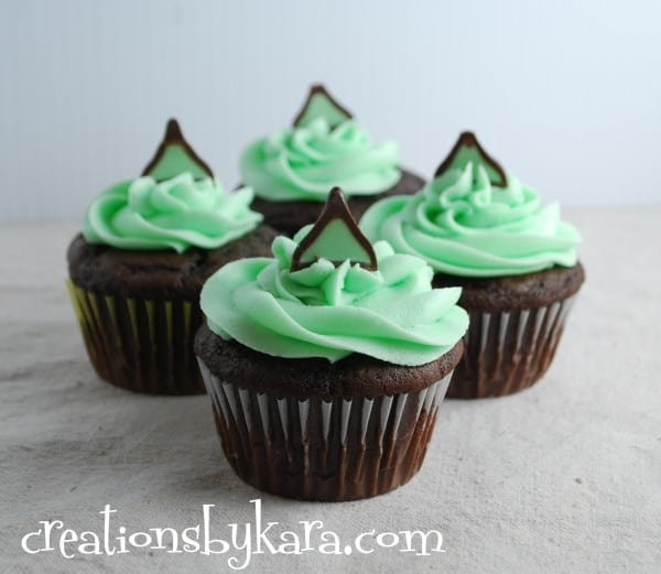 Chocolate Cupcakes Hot chocolate cupcakes with mint kissed centers ...