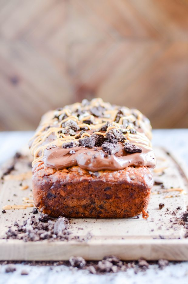 Triple the peanut butter in this sweet banana bread with a decadent cookies & cream packed ganache on top!