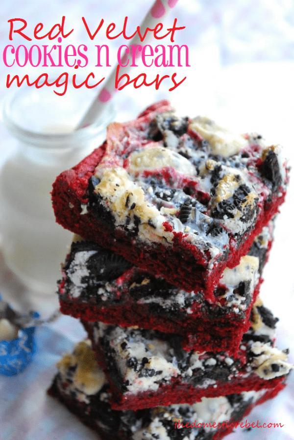 red velvet cookies n cream magic bars