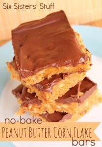 6.sisters.No-Bake Peanut Butter Corn Flake Bars