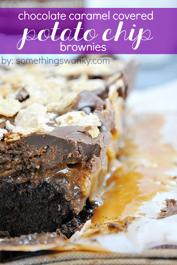 Chocolate Caramel Covered Potato Chip Brownies | www.somethingswanky.com