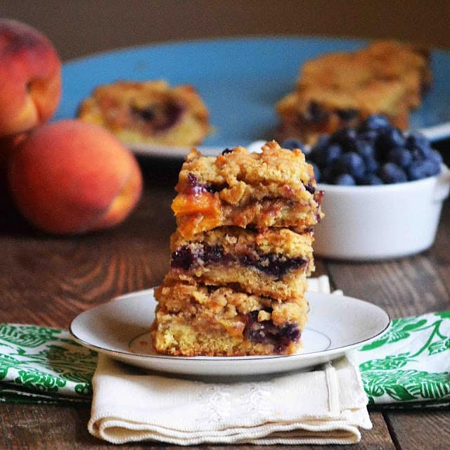 blueberry peach cobbler bars