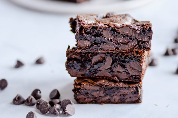 Super thick and fudgy chocolate chunk brownies.