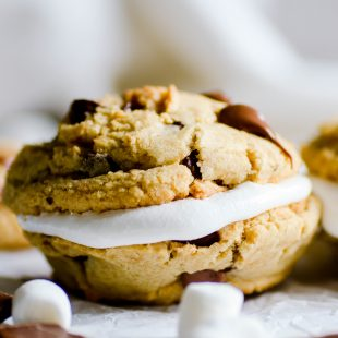 Grab a couple of these chocolate chip graham cracker cookies and make a sandwich with marshmallow cream or a toasty marshmallow. Aka: Smookies!