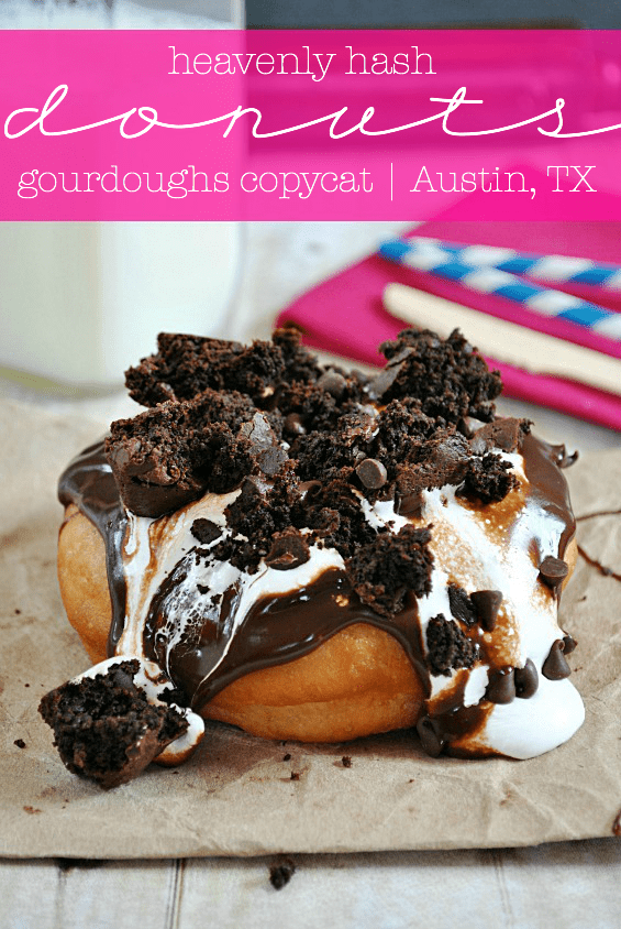 Heavenly Hash Dounuts | Gourdoughs CopyCat recipe @ www.somethingswanky.com