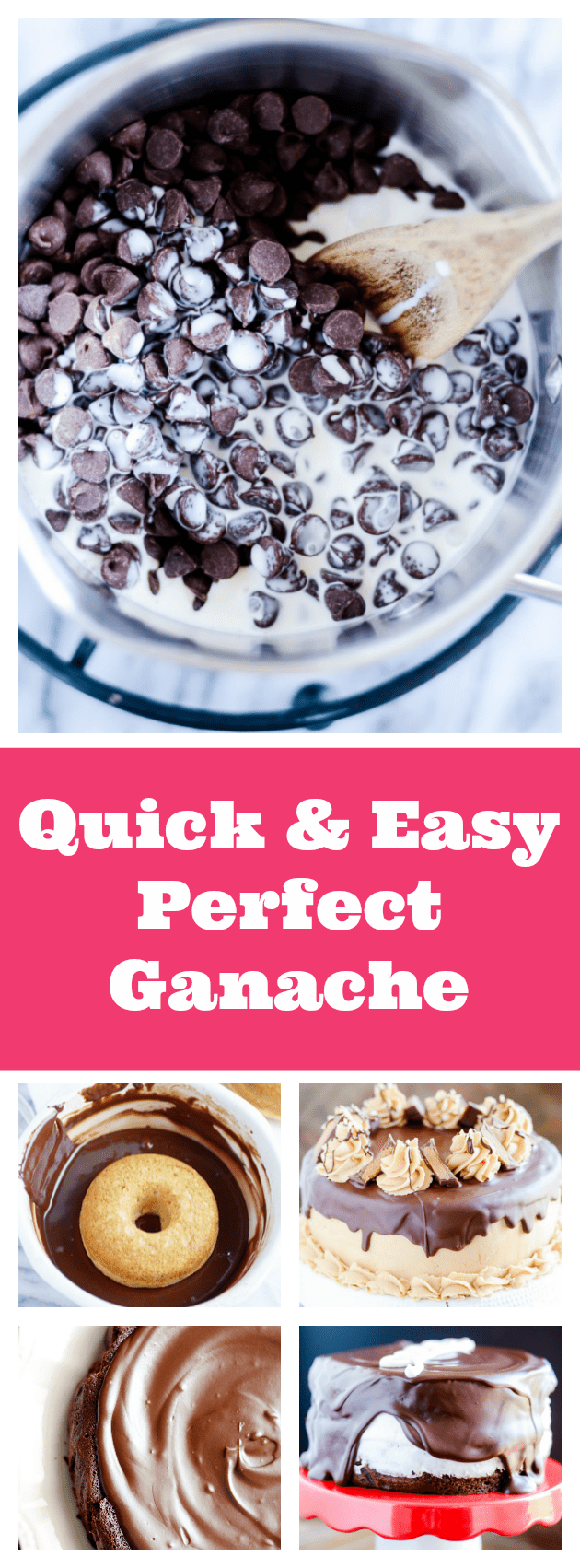 The BEST ganache and so easy to make! Use it on cakes, cupcakes, pies, donuts, and so much more!