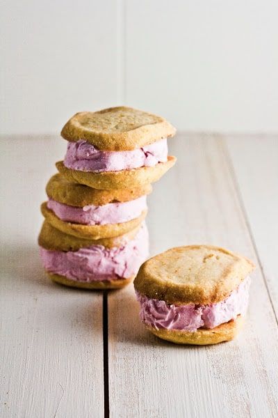 Strawberry and Citrus Cornmeal Ice Cream Sandwiches