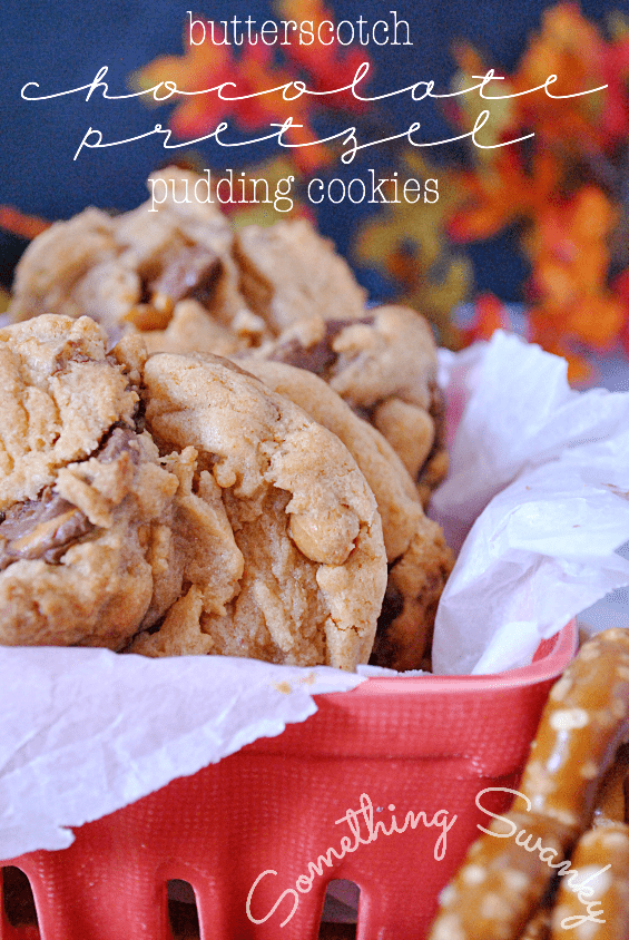 Butterscotch Chocolate Pretzel Pudding Cookies | www.somethingswanky.com