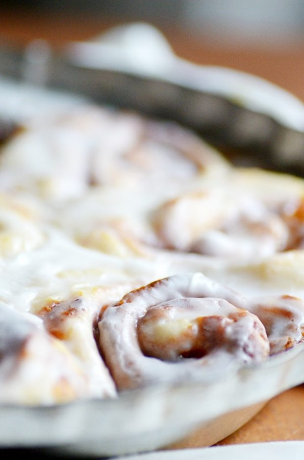 Wake up to these soft and fluffy cinnamon rolls filled with pumpkin pie. The perfect cozy breakfast for those chilly Fall mornings!