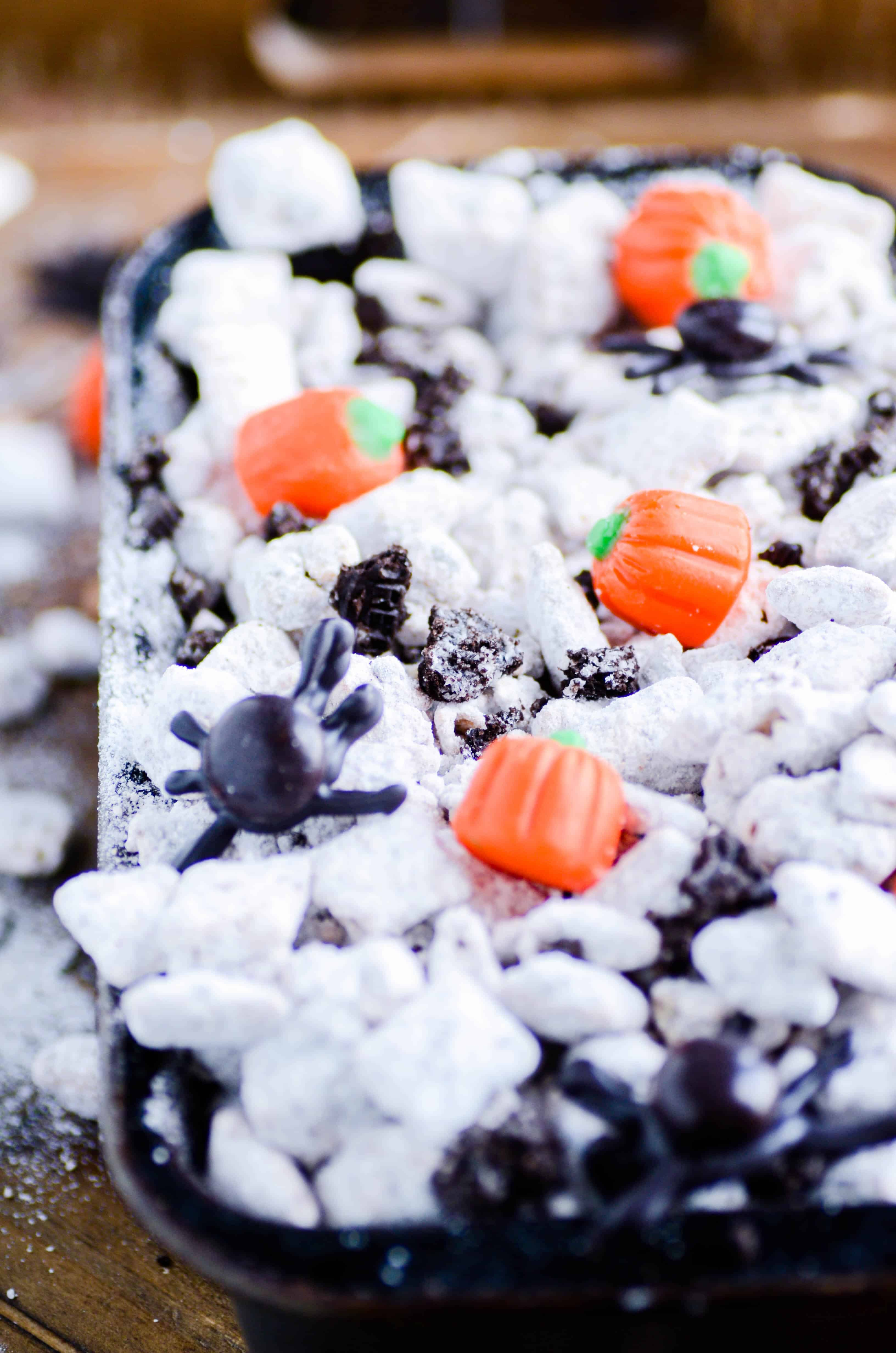 These Oreo-packed muddy buddies get a seasonal twist with pumpkin spice morsels!