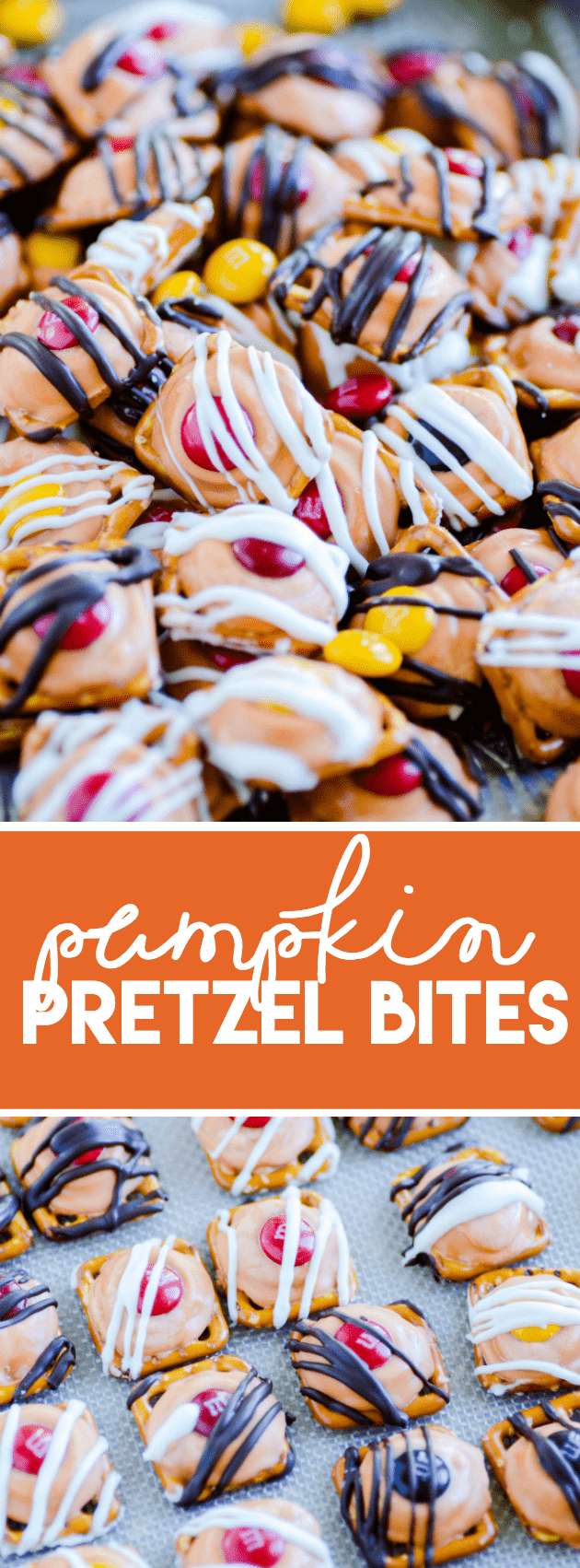 These easy pumpkin pretzel bites are an easy salty + sweet Fall snack that you won't be able to stop munching on!