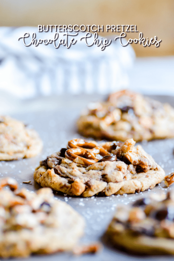 These Butterscotch Pretzel Chocolate Chip Cookies are the perfect sweet & salty cookie for Fall.
