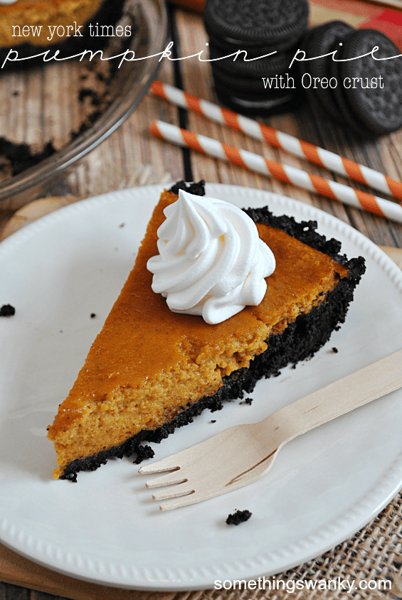 New York Times Pumpkin Pie with an Oreo Crust | www.somethingswanky.com