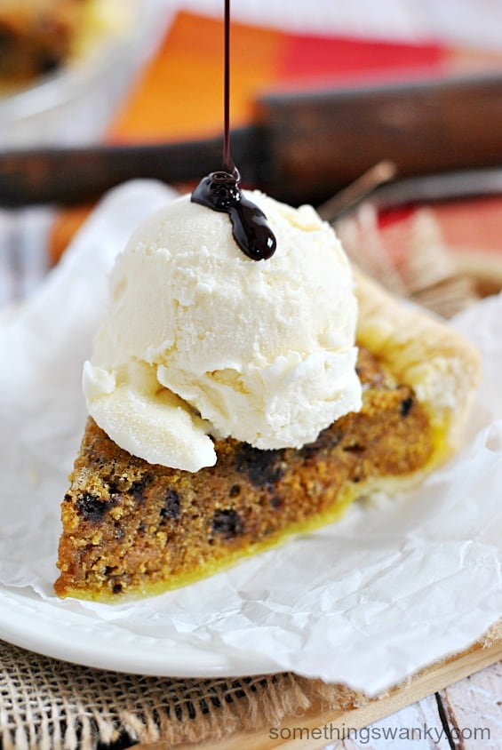 Pumpkin Chocolate Chip Cookie Chess Pie | www.somethingswanky.com