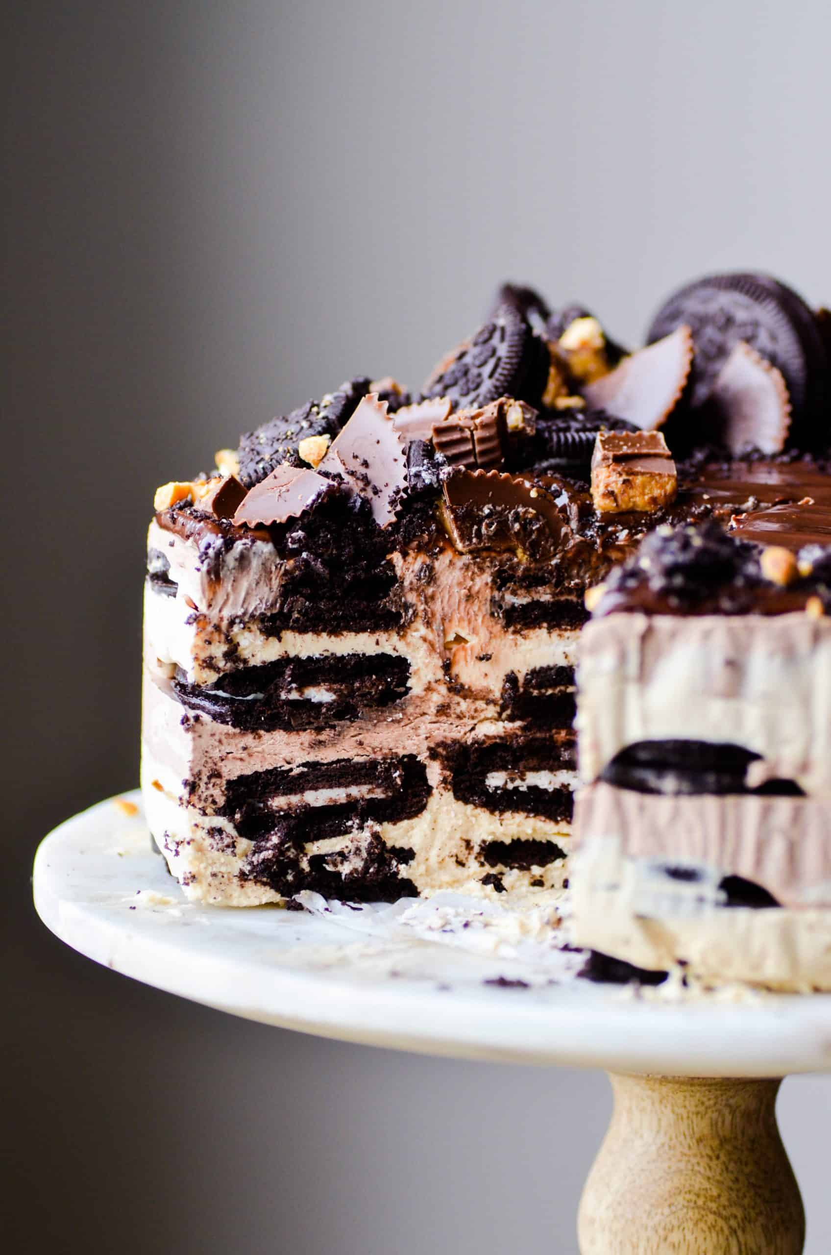 LOADS of soft Oreo cookies stuffed in between layers of chocolate and peanut butter mousse topped with hot fudge and peanut butter cups.