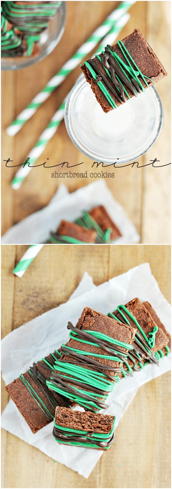 Thin Mint Shortbread Cookies | www.somethingswanky.com #3weeksofGScookies