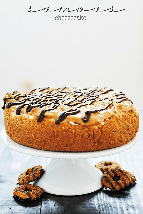 Samoas Cheesecake | www.somethingswanky.com